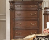 Rich Brown Finish Chest with Reeded Pillar