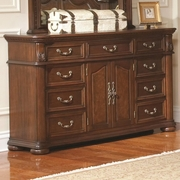 Rich Brown Finish Dresser with Bun Feet
