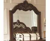 Rich Brown Finish Mirror with Intricately Carved Frame