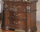 Rich Brown Finish Nightstand with Reeded Pillar