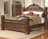 Rich Brown Finish Queen Bed with Pillar Posts
