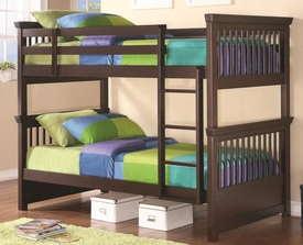 Rich Cappuccino Finish Twin Bunk Bed