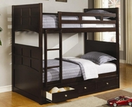 Rich Cappuccino Finish Twin Bunk Bed with Under Bed Storage Drawers 460136