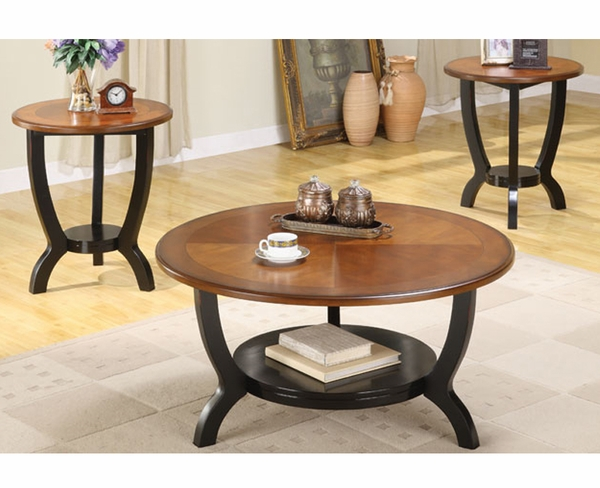 3pc Coffee End Table Set: Round 3-Pc Coffee Table Set