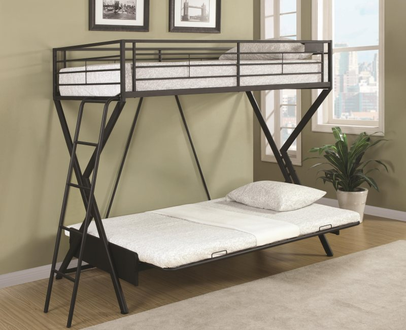 Sandy Black Metal Convertible Futon Loft Bed By Coaster