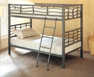 Silver Metal Frame Twin Bunk Bed with Ladder 7395