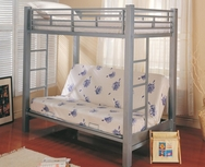 Silver Metal Twin Over Futon Metal Bunk Bed 7399
