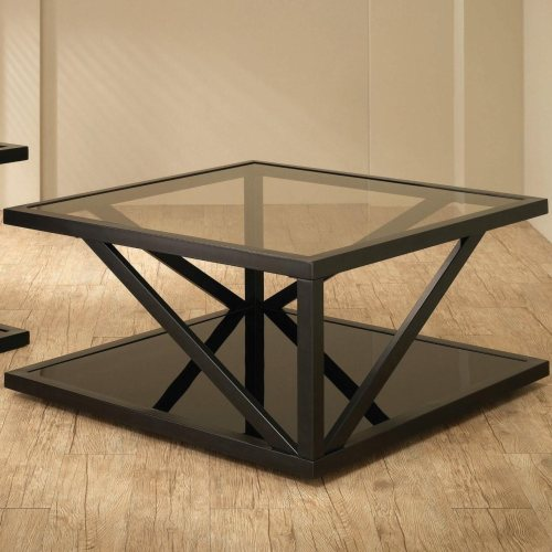 Square Black Coffee Table With Glass Top By Coaster