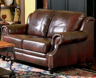 Tri-Tone Burgundy Rolled Arm Leather Love Seat 500662