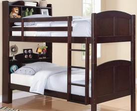 Twin Bookcase Bunk Bed with Built-In Ladder