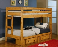 Twin Over Twin Bunk Bed with Built-In Ladders 460243