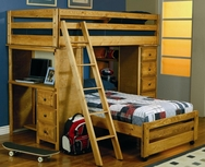 Twin Over Twin Loft Bed with Built-In Desk 460141
