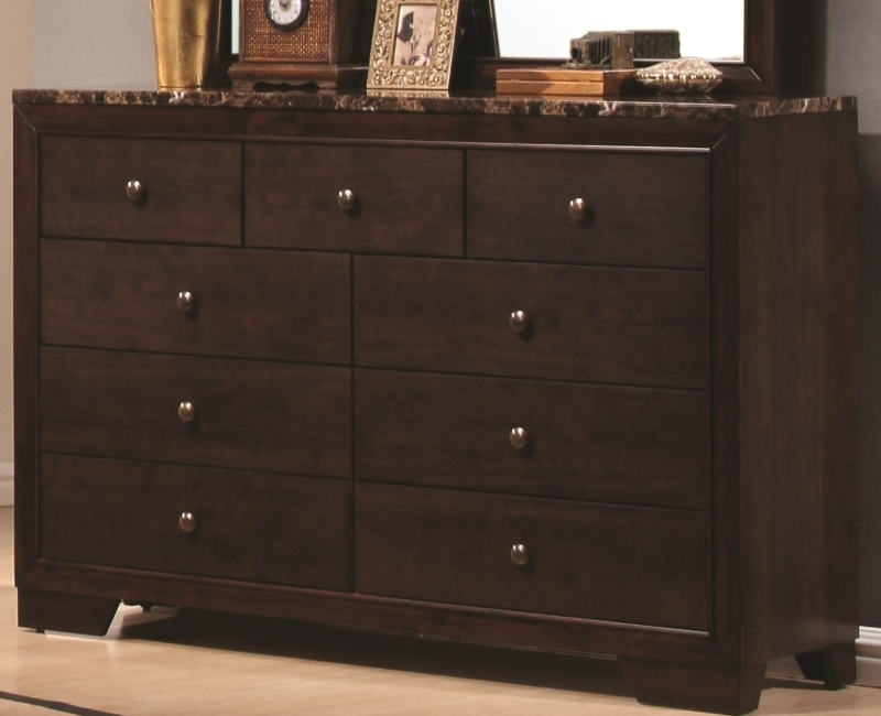 Walnut Finish Faux Marble Top Dresser By Coaster Furniture