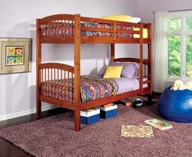 Warm Oak Finish Twin Bunk Bed with Built-In Ladder