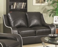 Welt-Cord Trim Bonded Leather Loveseat 504222