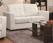 White Bonded Leather Upholstered Love Seat with Track Arms 503708