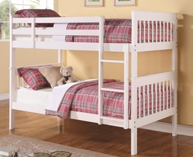 White Finish Twin Over Twin Bunk Bed