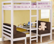 White Finish Twin Over Twin Convertible Loft Bed 460273