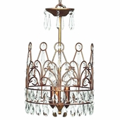 3-Arm Crown Gold Chandelier