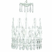3-Arm Crown White Chandelier