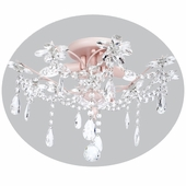 3-Arm Crystal Flower Pink Ceiling Chandelier