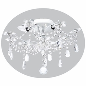 3-Arm Crystal Flower White Ceiling Chandelier