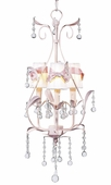3-Arm Pear Pink Chandelier with White with Pink Sash Shades