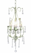 3-Arm Pear Soft Green Chandelier with Clear Bulb Covers