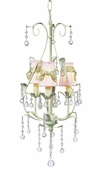 3-Arm Pear Soft Green Chandelier with Pink with Sage Green Sash Shades