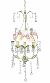 3-Arm Pear Soft Green Chandelier with White with Pink Sash Shades