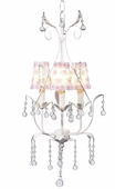 3-Arm Pear White Chandelier with White/Pink Petal Flower Shades