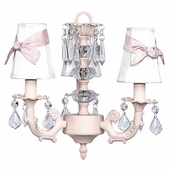 3-Arm Stacked Glass Ball Pink Chandelier with White with Pink Sash Shades