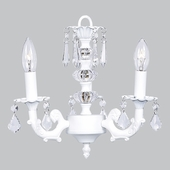 3-Arm Stacked Glass Ball White Chandelier