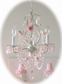 3-Light Sage Chandelier with Pink Porcelain Roses
