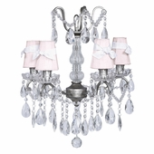 4-Arm Crystal Glass Center Antique Grey Chandelier and Pink with White Sash Shades