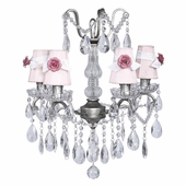 4-Arm Crystal Glass Center Antique Grey Chandelier with Pink with White Sash Shades and Bright Pink Rose Magnets