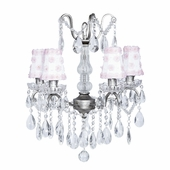 4-Arm Crystal Glass Center Antique Grey Chandelier with White/Pink Petal Flower Shades