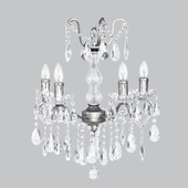 4-Arm Crystal Glass Center Pewter Chandelier