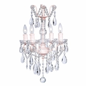 4-Arm Crystal Glass Center Pink Chandelier