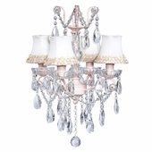 4-Arm Crystal Glass Center Pink Chandelier with Pink/Green Flower Border Shades