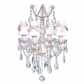 4-Arm Crystal Glass Center Pink Chandelier with White with Pink Sash Shades