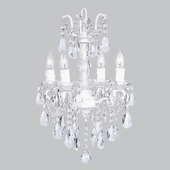 4-Arm Crystal Glass Center White Chandelier