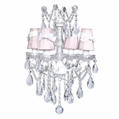 4-Arm Crystal Glass Center White Chandelier with Pink with White Sash Shades