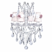 4-Arm Crystal Glass Center White Chandelier with Pink with White Sash Shades and Light Pink Rose Magnets