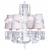 4-Arm Fountain White Chandelier with Pink with White Sash Shades