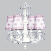 4-Arm Fountain White Chandelier with White/Pink Petal Flower Shades