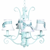 4-Arm Harp Baby Blue Chandelier with White with Blue Sash Shades