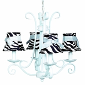 4-Arm Harp Baby Blue Chandelier with Zebra with Blue Sash Shades