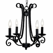 4-Arm Harp Black Chandelier