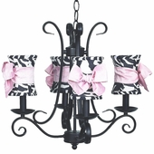 4-Arm Harp Black Chandelier with Zebra with Pink Sash Bow Hourglass Shades